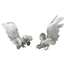 Pair of Silver Fighting Cocks