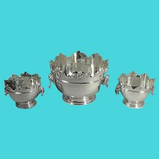 Set of 3 Silver Monteith Bowls