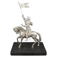 Silver Figure of Joan of Arc on Horseback