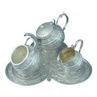 Antique Indian Silver Tea Set Kashmir