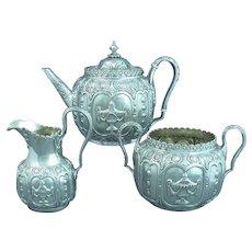 Ornate Victorian Sterling Silver Tea Set