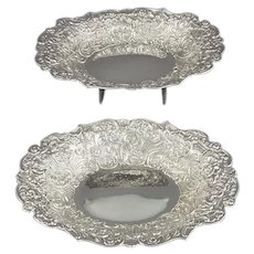 Pair of Victorian Sterling Silver Dessert Dishes