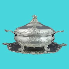 Rococo Silver Soup Tureen on Stand