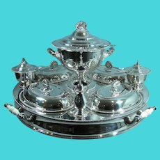 Massive English Silver Plate Supper Dish Lazy Susan