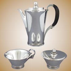 Georg Jensen Pyramid Pattern Sterling Silver Coffee Set