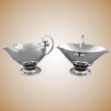 Large Georg Jensen Silver Ornamental Cream & Sugar