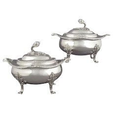 English Sterling Silver Sauce Tureens