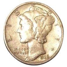 1939-D US Mercury Dime 90% Silver Coin