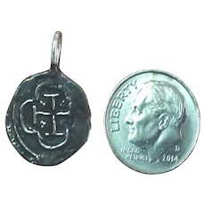 Old Silver Coin Charm Pendant With Cross