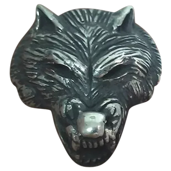 Vintage Sterling Silver Wolf Head Pendant