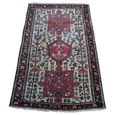 Vintage Rug, 2' 8 x 4' 1 Ivory Tribal Persian Karaja