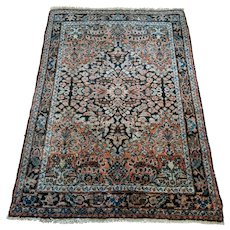 Vintage Rug, 3' 6 x 5' 1 Blue Persian