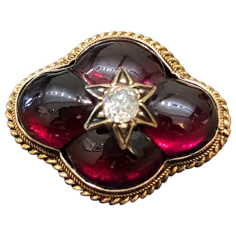 Antique mid-Victorian garnet and diamond brooch, from about 1870
