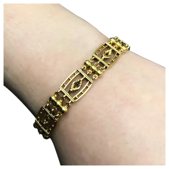 Antique Edwardian 15-carat gold solid gate-link bracelet from about 1910