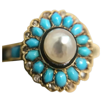 Antique Victorian turquoise, natural pearl and rose-cut diamond rose gold ring