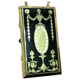 Antique Edwardian gold, enamel and onyx vanity case, from about 1915