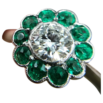 Diamond and emerald platinum cluster ring from about 1940