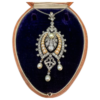 Antique Victorian diamond and natural pearl pendant from about 1880