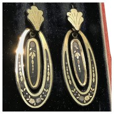 Antique Victorian piqué earrings with gold and silver inlay