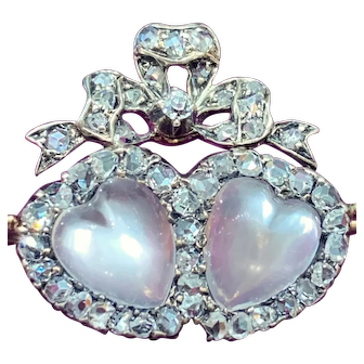 Antique Victorian double heart moonstone and diamond brooch, circa 1890
