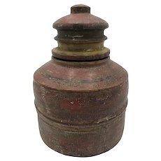 Vintage Hand-Carved Wooden Indian Spice Jar