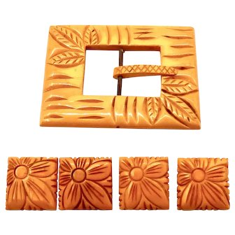 Vintage carved Butterscotch Bakelite Buckle with four buttons