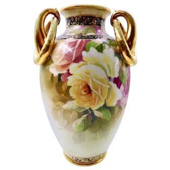 Nippon Antique three handled hand painted vase