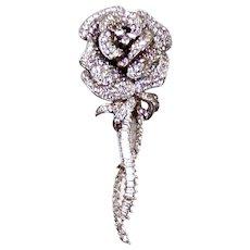 Nolan Miller Rhinestone Sophia Rose Flower Pin Brooch