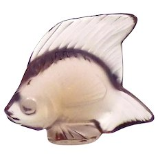 Rare Vintage Lalique Crystal pale purple display fish
