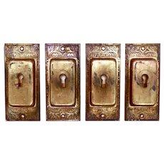 Authentic Victorian Brass Hardware cast brass flush pulls C 1885