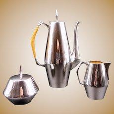 John Prip Gio Ponti Reed & Barton Sterling Silver The Diamond Pattern Coffee Service