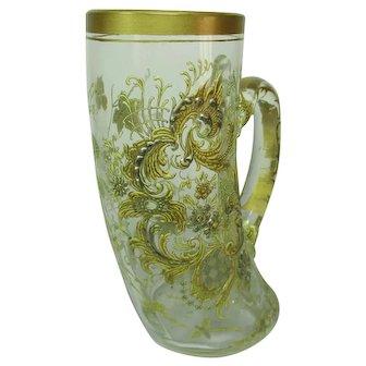 """19th Century Moser Enamel Gilded Glass """"Horn"""" Tankard"""