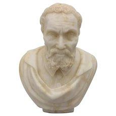 Michelangelo Bust 19th Century Italian Alabaster Sculpture