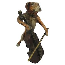 Franz Bergman Cold Painted Vienna  Bronze - The Cello Playing Dog - Dachshund
