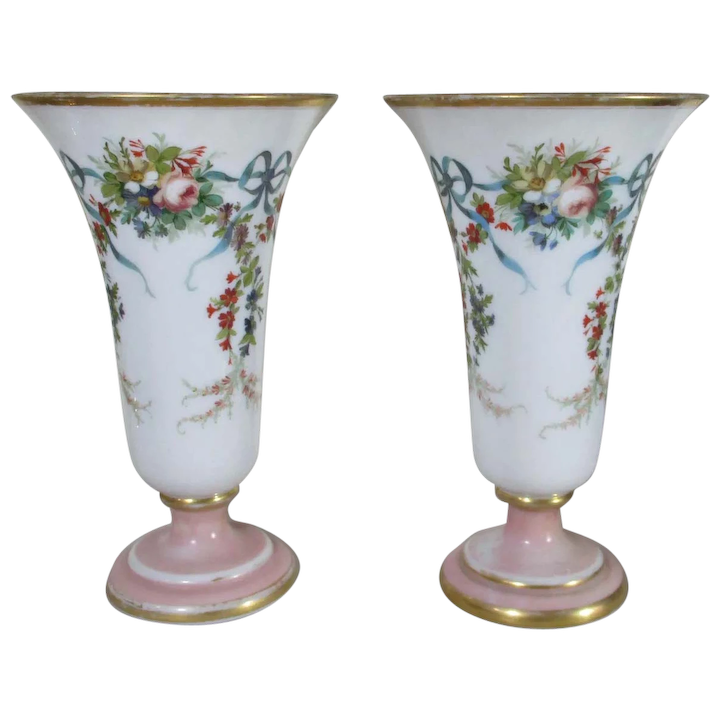 225 & Baccarat Pair of Antique French Opaline Glass Vases with Floral Decoration
