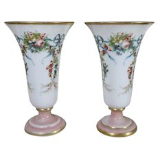 Baccarat Pair of Antique French Opaline Glass Vases with Floral Decoration