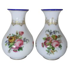 Pair of Baccarat Antique French Opaline Glass Vases with Floral Decoration