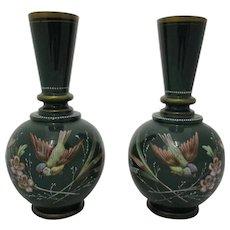Harrach Pair Bohemian Enamel Paint Decorated Opaline Glass Vases