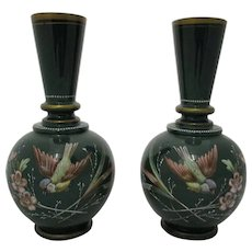 Pair Bohemian Harrach Enamel Paint Decorated Opaline Glass Vases