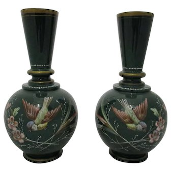 Pair Bohemian Harrach Enamel Paint Decorated Opaline Glass Vases