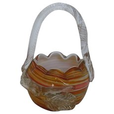 Czech Art Glass Basket