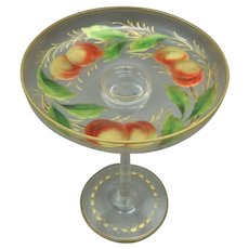 Moser Gilded Comport With Enamel Colours Decorated with Peaches