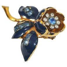 1940s Blue Coro Trembler Flower Fur Clip