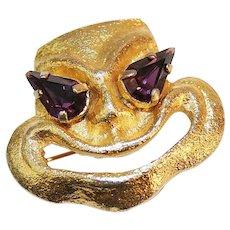 Coro Smiling Comedy Mask Pin Brooch With Amethyst Rhinestone Eyes