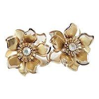 Vintage Flower Earrings With Aurora Borealis Rhinestone Centers