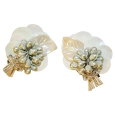 Vintage Winter White Sequin Flower Earrings Marked West Germany