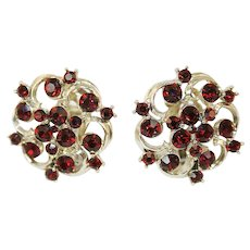 Vintage Kramer Ruby Red Rhinestone Earrings
