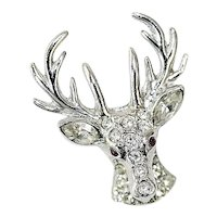 Vintage Rhinestone Reindeer Pin by ORA