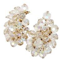 Vintage Sparkly Crystal Bead Earrings 1950s Vintage Earrings