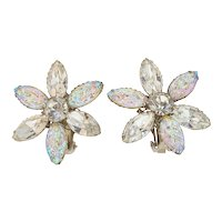 Vintage Molded Glass Rhinestone Vintage Earrings Shimmery Multi-Color